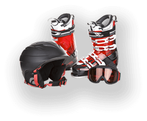 Ski shoes and helmet